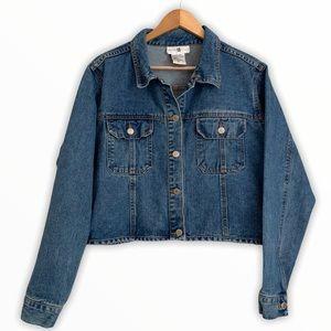 Retro Denim Jacket 100% Cotton Size L